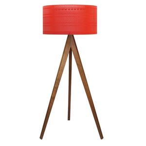 Lampara de Piso Cesteria Circular Rojo