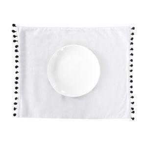 Mantel Blanco Pompon Nero